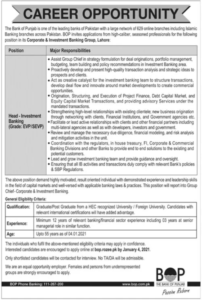 The Bank of Punjab BOP Management Latest Job 2021 in Lahore