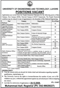 University Of Engineering And Technology Uet Lahore Latest Teaching Jobs 2020