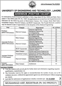 University of Engineering & Technology UET Faculty Jobs 2020 in Jang News