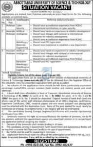 AUST Professor Jobs 2021, Abbottabad University of Science & Technology