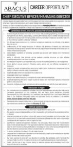 Abacus Consulting Islamabad Jobs 2021 for Chief Executive Officer