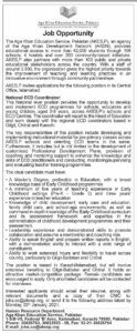 Agha Khan Education Service Pakistan Jobs 2021 for National ECD Coordinator