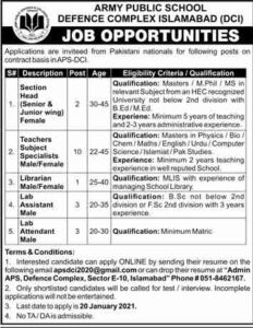 Army Public School Defence Complex Islamabad Jobs 2021 for Section Head