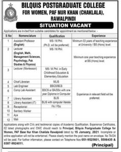Bilquis Postgraduate College Rawalpindi Jobs 2021 for Assistant Professor, Lecturer