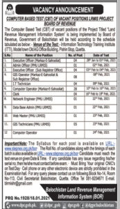 Board of Revenue BOR Jobs 2021 Quetta for Executive Officer