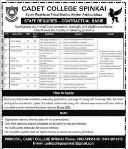 Cadet College Spinkai Jobs 2021 for Lecturer Teaching & Non-Teaching Staff