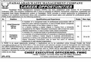 Chief Financial Officer FWMC Jobs 2021, Faisalabad Waste Management Company