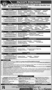 Comsats University Islamabad CUI Jobs 2021 for Professor, Assistant Professor