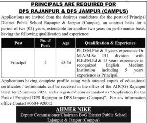DPS Rajanpur Principal Jobs 2021, District Public School Advertisement