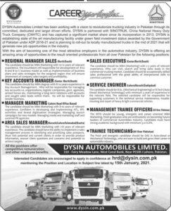 DYSIN Automobiles Ltd Lahore Management Jobs 2021 Advertisement