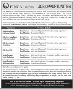 FINCA Microfinance Bank Ltd Jobs 2021 - Management Lahore Advertisement
