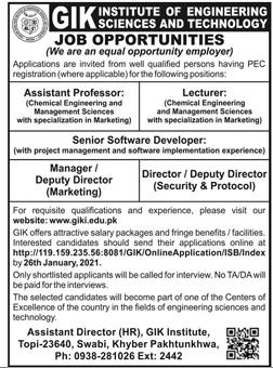 GIK Institute Assistant Professor Jobs 2021 for Teaching & Non-Teaching Staff Latest