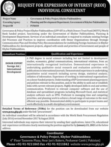 Governance & Policy Project KPK Jobs 2021 for Donor Expert Foreign Aid Apply Online