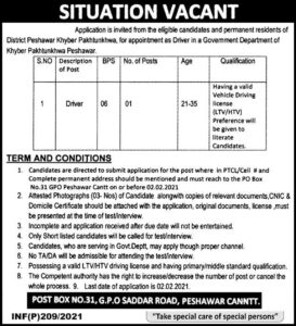 Government Department Driver Jobs 2021 in Peshawar Advertisement