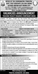 Government Postgraduate College Bannu Jobs 2021 Teaching Advertisement