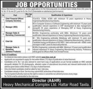 Heavy Mechanical Complex HMC Jobs 2021 for Manager Sale and Marketing