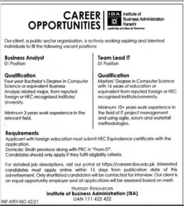 IBA Business Analyst Jobs 2021 Karachi, Institute of Business Administration
