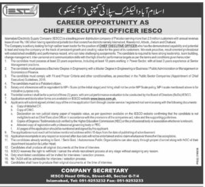 IESCO Jobs 2021 for Chief Executive Officer Islamabad Electric Supply Company