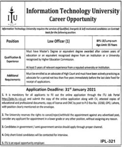 Information Technology University ITU Jobs 2021 Lahore for Law Officer
