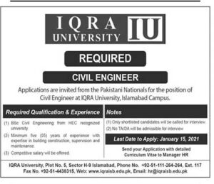 Iqra University Civil Engineer Islamabad Jobs 2021