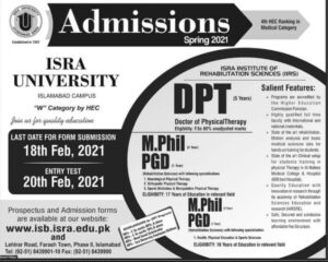 Isra University Islamabad Admissions 2021 for M.Phil, PGD