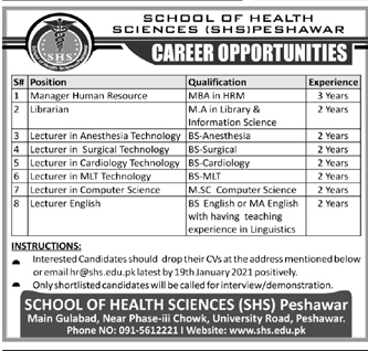 Jobs in Lecture Anesthesia Technology 2021 in School of Health Sciences Peshawar