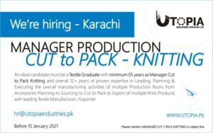 Jobs in Utopia Industries Pvt Ltd 2021 for Manager Production in Karachi