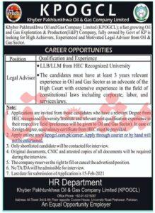KPOGCL Jobs 2021, Khyber Pakhtunkhwa Oil & Gas Company Limited for Legal Advisor