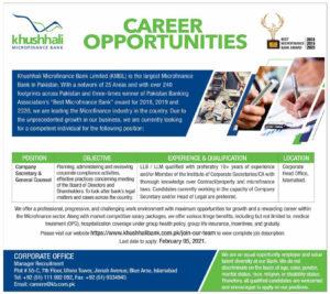 Khushhali Microfinance Bank Limited Jobs 2021 Islamabad for Company Secretary