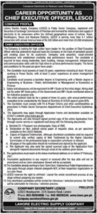 LESCO Jobs 2021 Advertisement for Chief Executive Officer