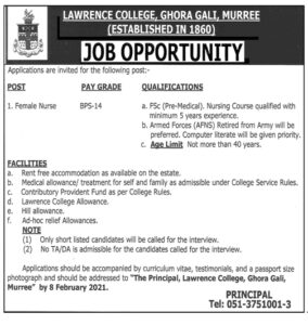 Lawrence College Ghora Gali Murree Jobs 2021 for Female Nurse