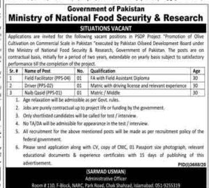 Ministry of National Food Security & Research Islamabad Jobs 2021 for Driver-Naib Qasid