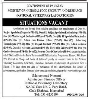 Ministry of National Food Security & Research MNFSR Jobs 2021 for Subject Specialist