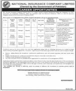 NICL Zonal Manager Account Jobs 2021 Pakistan, National Insurance Company Limited