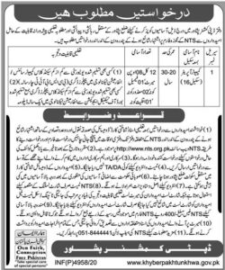 NTS Computer Operator Jobs 2021 Application Form, Government of KPK Recruitment