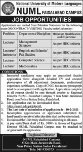 NUML Jobs 2021 in Faisalabad for Lecturer, Instructor
