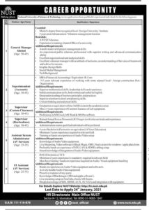 NUST Jobs 2021 Islamabad for Non-Teaching Staff for General Manager Alumni
