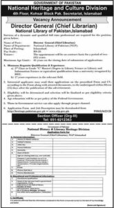 National Heritage & Culture Division Jobs 2021 Islamabad for Director General