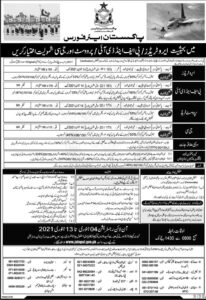 PAF Jobs 2021, join paf online registration aero trades - www.joinpaf.gov.pk