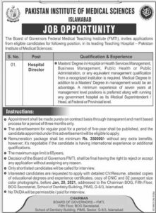 PIMS Hospital Director Jobs 2021, Pakistan Institute of Medical Sciences