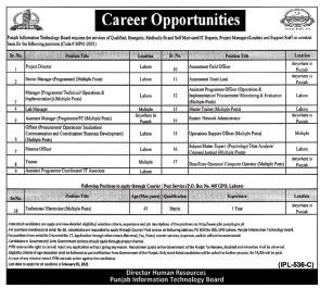 PITB Latest Jobs 2021 Apply Online, Punjab Information Technology Board