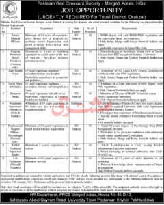 PRCS Jobs 2021 for Lady Health Visitors Pakistan Red Crescent Society