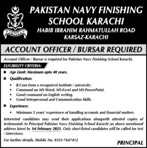 Pakistan Navy Finishing School Jobs 2021 for Account Officer in Karachi