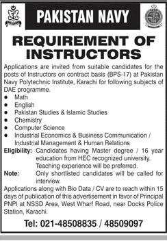 Pakistan Navy Jobs 2021, Join Pak Navy for Instructors Advertisement