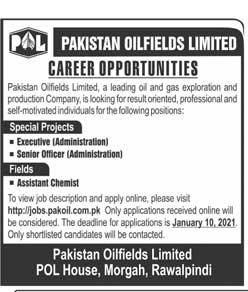 Pakistan Oilfields Limited POL Jobs 2021 for Assistant Chemist Advertisement