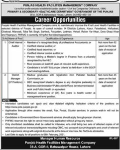 Primary & Secondary Healthcare Department Jobs 2021 for Chief Internal Auditor