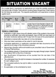 Public Sector Organization Job 2021 For Statistical Assistant in KPK