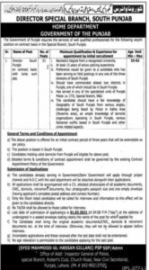 Punjab Police Home Department Jobs 2021 for Director Special Branch