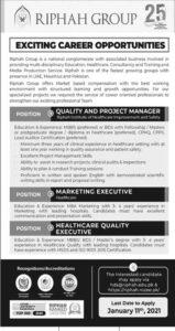 Riphah International University Jobs 2021 for Marketing Executive Apply Online