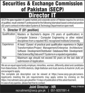 SECP Jobs 2021, Securities and Exchange Commission of Pakistan for Director IT